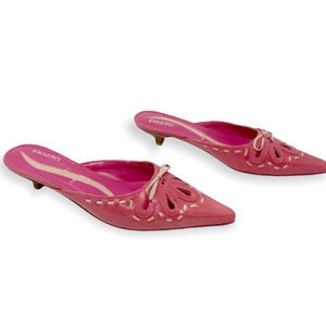 PAZZO Vintage Pink Stitched Leather Kitten Heels
